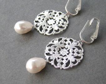 Silver Medallion Clip-on Earrings, White Pearl Teardrop Clipons, Silver Scrollwork Dangle For Non Pierced Ears, Wedding Clip Earrings, Alice
