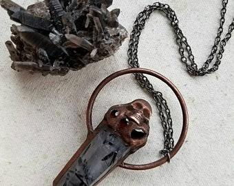 Buried Treasure Pendant - Tourmalated Quartz & Garnets - Copper