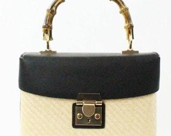 Straw Trendy Cross Bag Black