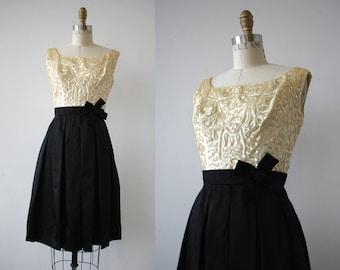 vintage 1950s dress / 50s black cream sequin party dress / 50s little black dress / 50s LBD / 50s color block dress / 50s two tone dress / S