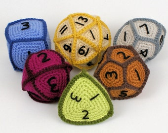 PDF Gaming Dice Crochet Pattern, Six Geometric Patterns, RPG Crochet Pattern, D4, D6, D8, D10, D12, D20, Geek Crochet, Gamer Crochet
