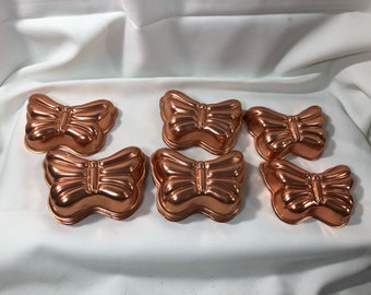 12 Small Vintage Copper Butterfly Molds Wall Decor Jello Moulds