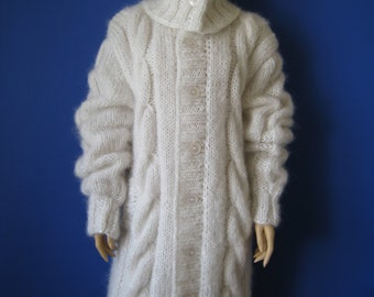 Made to order ! New hand knitted Mohair Cabled Cardigan Coat size L-XL