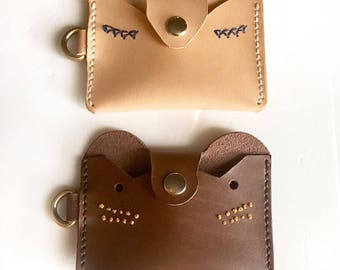 animal-fox,leather card holder,small wallet,card wallet