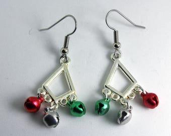 Jingle Bells, Christmas Earrings, Silver Jingle Bells Earrings, Silver Jingle Bell Earrings
