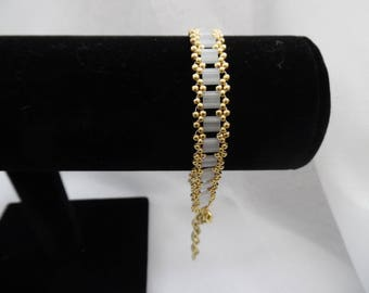 Gold and White Tila Bead Anklet - Adjustable