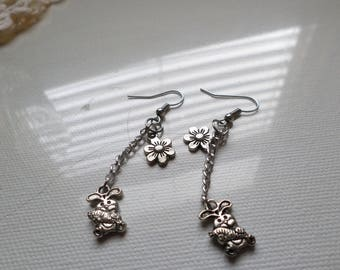 Spring Easter Bunny And Flower Dangle Earings