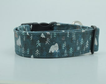 Snow Capped Mountains and Trees, Teal Dog Collar