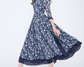 floral dress women, blue chiffon dress, womens summer dress, maxi dress, party dress, ruffle dress, square neckline dress, gift ideas 1751