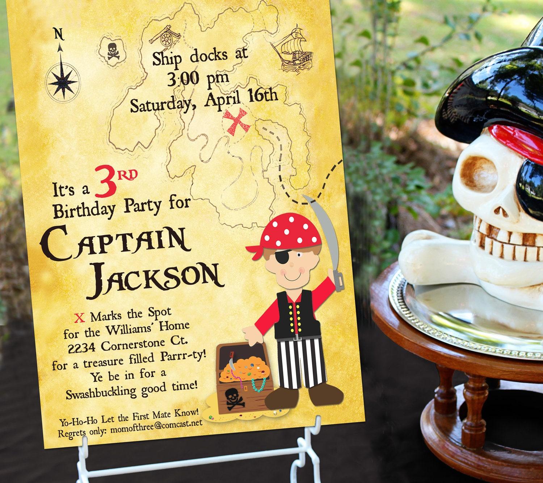 Pirate Party Invitation Pirate Birthday Invitation Pirate