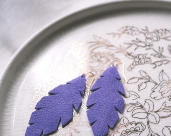 Violet Purple Leather Leaf Earrings