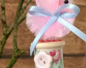 Vintage Style Easter Chick hanging Decorations X 3