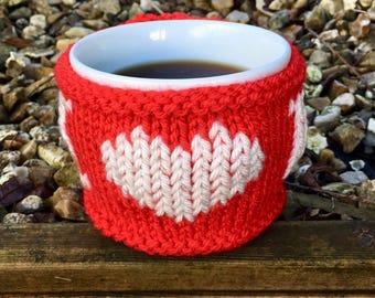 "Hand-made Mug Cosy/Mug Warmer ""I Love You"""