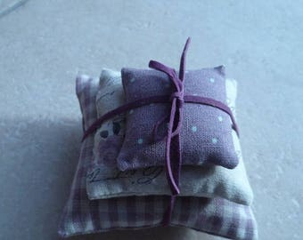 Set of 3 small linen pillows, rose, romantic