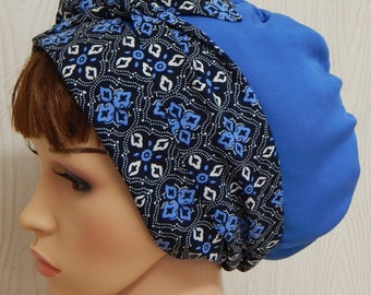 Women's summer head scarf, Jewish tichel hair snood, blue head wrap bandana, bad hair day head covering, hair scarf bonnet