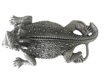 Vintage Horned Lizard Belt Buckle - Reptile - Arizona Desert - Animal - Funny Scary - Horny Toad - Holiday Deals Sale