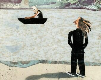 How Long Must I Wait, Anthropomorphic Art, Wedding Gift, Boat scene, Couple, Collage Art, 12x12 print, 24x24 print