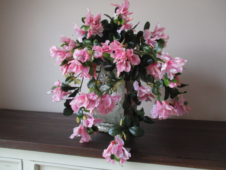 Large Pink Azalea Bush 21 Designer Silk Flower Basket