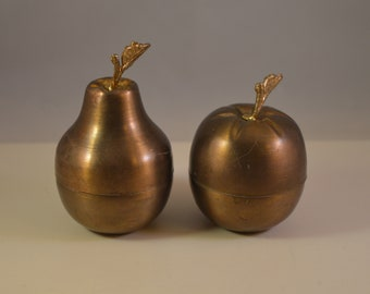 Vintage brass plated,pear, apple Jewelry Storage,trinket box ,decor set of 2