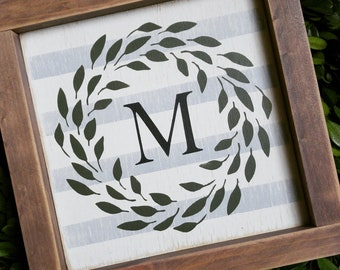 Monogram Sign, Framed Sign, Farmhouse, Rustic Decor, French Country, Cottage, Gallery Wall