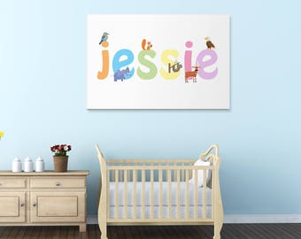 Jessie wall canvas, Jessie wall art, Jessie animal art print, Nursery canvas, Kids bedroom canvas, UK,USA.