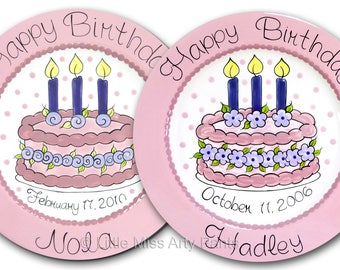 FREE Shipping - Personalized Birthday Plates - Floral Birthday Cake -Happy Birthday Plate - 1st Birthday - Birthday Plate - Birthday Candles