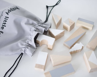 Wooden blocks set in Neutral tones packed in cotton bag - Building blocks - Wooden toys - Birthday gift baby - Toddler gift - Baby gift