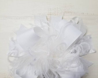 Ruffle & Tulle Solid White Over The Top Hair bow Hair Clip Headband Headband