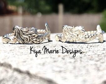 Mermaid Ring, Sterling Silver Mermaid Ring, Mermaid jewelry, Ocean Jewelry, Sea Maiden Ring