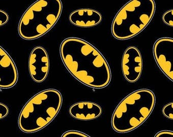 Batman Logo Toss Cotton Fabric by the yard