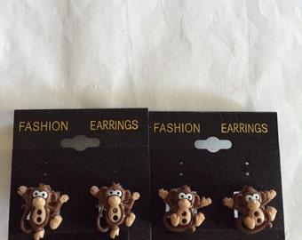 Cute Monkey Button Earrings!!