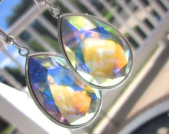 Swarovski Large Teardrop Earrings, Swarovski Crystal Earrings, Bling Earrings, Sparkle Earrings, Large Dangle Earrings