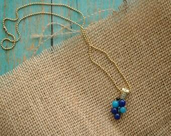 Glass Blueberry Necklace | Something Blue | Geometric Abstract | Mid Century Modern Danish Pendant | Shower Gift | Dot Art Jewelry Design