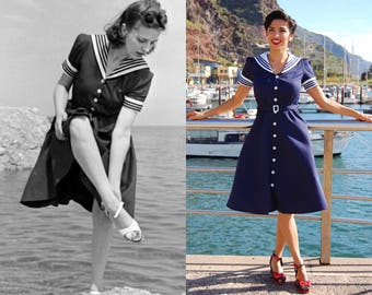 1940s reproduction vintage sailor nautical dress, the most authentic vintage reproduction of a dress featured in a 1940s Life Magazine