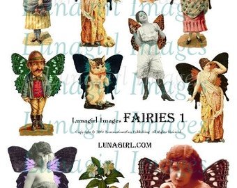 ALTERED FAIRIES digital collage sheet, Victorian ladies fairy wings, vintage girls man flappers, fantasy women, fairy cat, ephemera DOWNLOAD