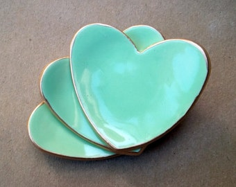 THREE  Ceramic heart ring dish  mint heart ring bowls 2 1/2 inches Wedding favors Bridal shower favors baptism favors