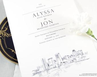 Baltimore Skyline Wedding Programs (set of 25 cards)