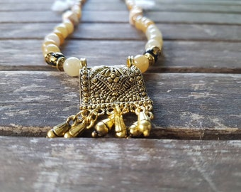Aztec style natural stones necklace