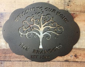 THE BRANDONS:  Personalized Welcome Sign with Tree of Life, Family Name and Established Date  |  Family Last Name Sign |  Outdoor Plaque