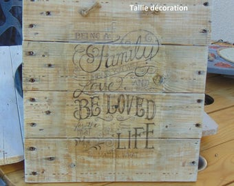 Wooden table style home decor, motto in English