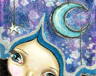 Big Eye Mixed Media Girl Giclee Art Print Signed Reproduction Twinkle Twinkle by Lizzy Love [IMG#123]