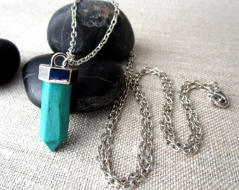 Gemstone Point Necklace, Magnesite Pendant, Long Boho Chain Necklace, Turquoise Color Point Pendant Necklace, Simple Jewelry, Healing Stones