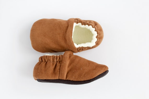 Soft baby cord, brown little boys moccs