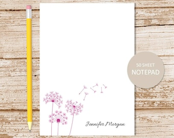 personalized notepad . dandelion notepad . dandelion note pad . personalized stationery . bontanical stationary