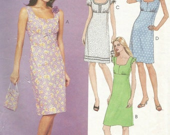 McCalls 3160 UNCUT Misses Empire Waist Sleeveless or Puff Sleeve Summer Dress Plus Tote Bag/Purse Sewing Pattern Size 12-16 Bust 34-38