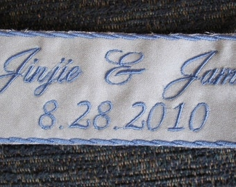 Something Blue - Bride Wedding Label  - Custom Embroidered with your NAME &DATE on Satin Sewn inside your dress