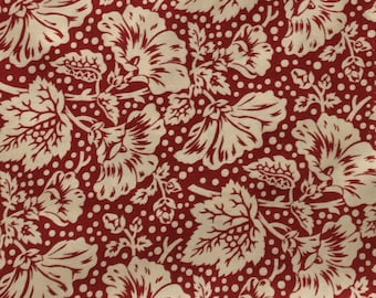 By The HALF YARD - Sara's Stash by Sara Morgan for Blue Hill Fabrics, Pattern #7416-2 Flowers and Dots in Cream on Red