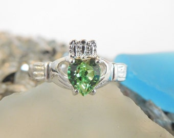 Peridot CZ Birthstone Claddagh Ring -Sterling Silver made with Swarovski Stones. August Birthstone*