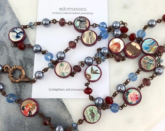 Vintage Postcards Photobeads Necklace with crystals and glass pearls - birds and floral theme