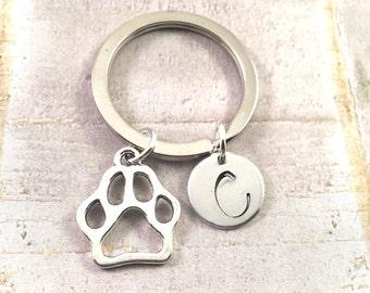 Paw Print Keychain, Cut out paw print, Wild Cats,  Initial Keychain, NU Wildcats, Clemson, Dog Mom, Mascot Keychain, College Keychain